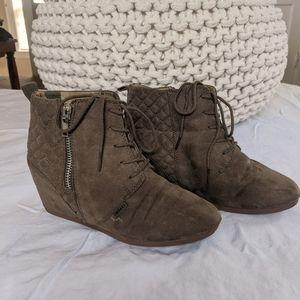 BONGO wedge heeled boots | taupe/grey/brown | 8.5